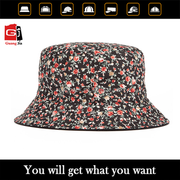 Guangjia hat manufacturer OEM stylish flower printed design bucket hats with your own logo