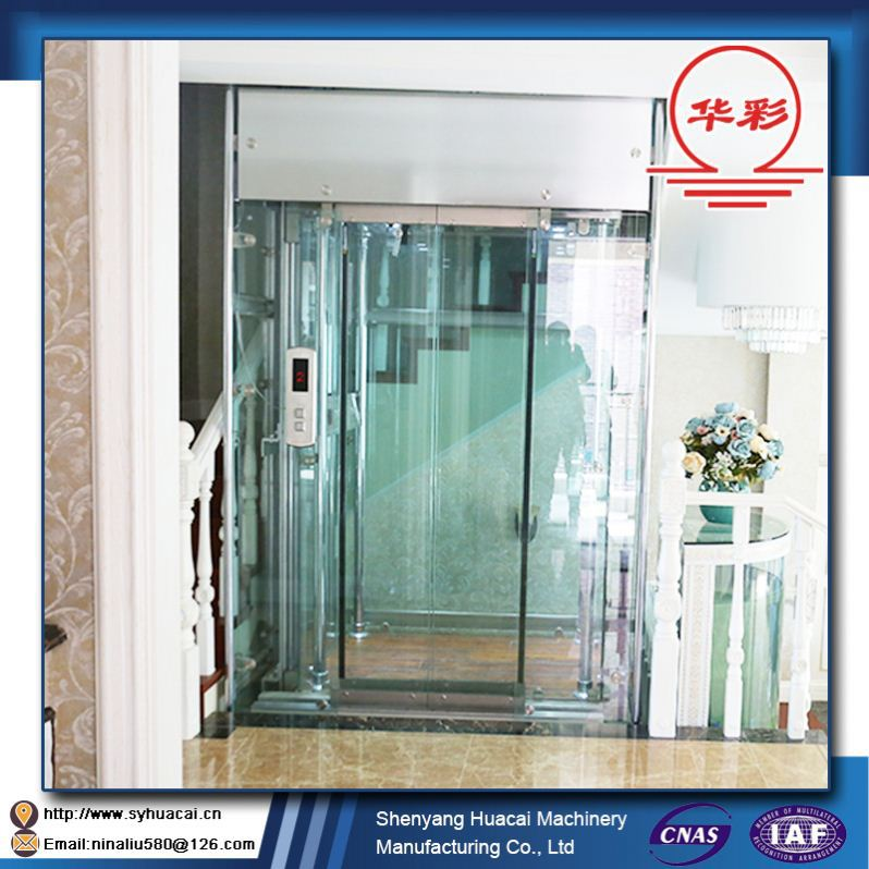 HC-320 2016 Hot sale low price customized flexible glass passenger elevator used