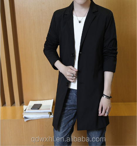 Spring and autumn thin men long jacket Slim trench coat male solid blazers