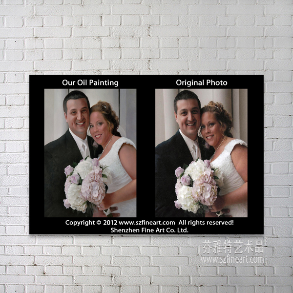 Handmade Wedding Portrait Painting From Photo on Canvas