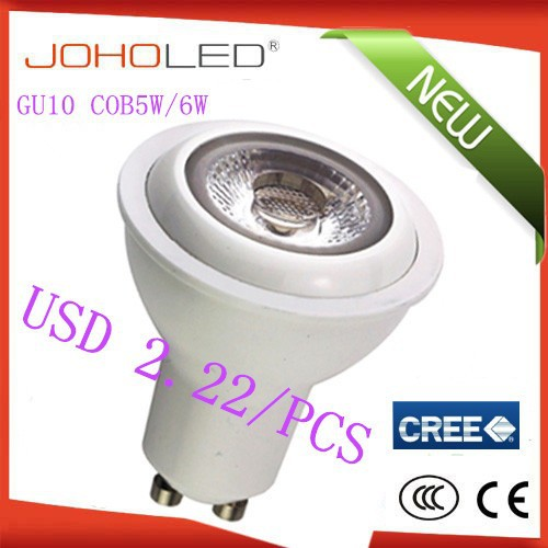 JOHO 2015 High CRI 80 cob 5W 6W gu10 <strong>led</strong> cob <strong>light</strong>