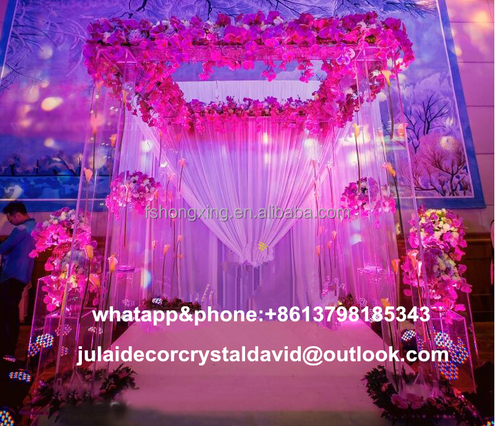hot wedding decoration acrylic crystal mandap with light for wedding event stage decoration