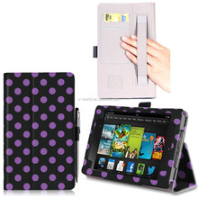Newest polka dot kindle SmartBook Case Folio Flip leather case for Amazon Kindle Fire HD 7''