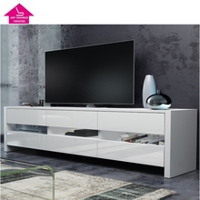 Modern High Gloss White led TV Stand for Living Room Furniture Designs