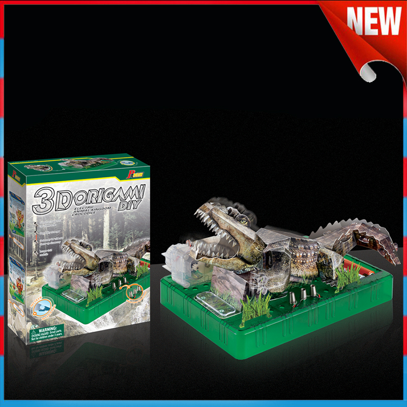 Intelligent 3D Paper Model DIY Electric Crocodile Toys