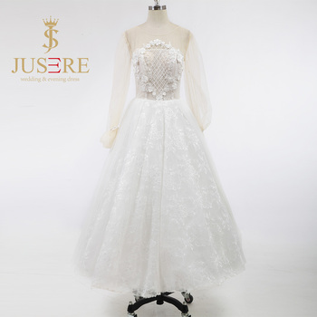 Fashion A Line 3D Flowers Grid Pearls Beaded Scoop Ivory Tulle Long Sleeves Short Wedding Dresses 2016