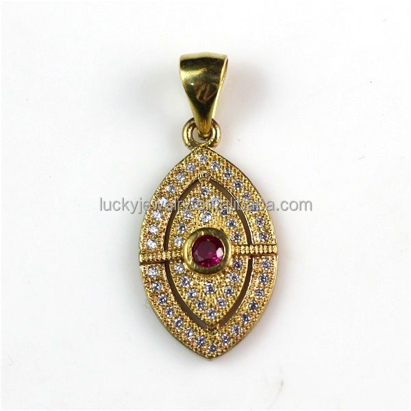 Charming Beautiful Designs Latest Fashion Zircon Diamond Raw Brass Evil Eye Pendant Wholesale