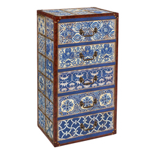 New arrival cheap Blue and white design antique chest of drawers dresser bedroom furniture