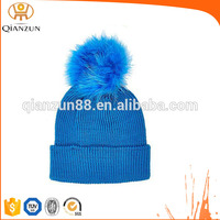 Custom winter hat real fur pom blue beanie hats with top ball