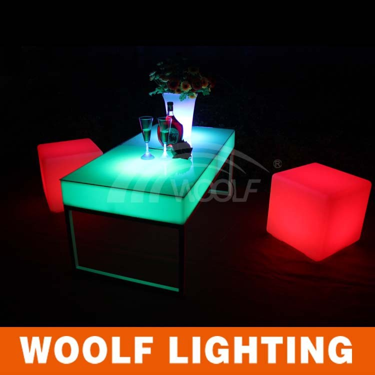 Rechargeable LED cube table and chair / 3d LED light cube