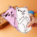 Soft Silicon Cat Phone Case For iPhone 7 6 6s Plus 5 5s Cases 3D Cartoon Rubber Middle Finger Cover For iPhone 6 6s Coque
