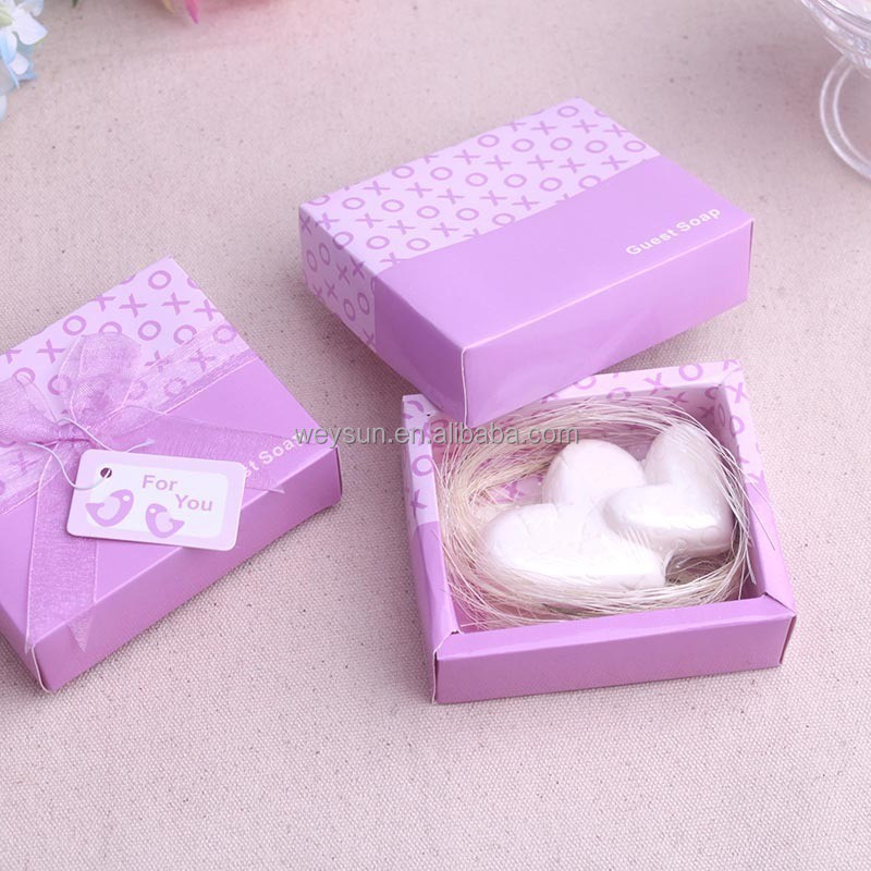 baby shower return gift white double heart scented soap in pink gift