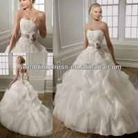 WD3036 Strapless sleeveless white beaded lace applique purple satin band gathered organza 2014 sweetheart wedding dress pattern