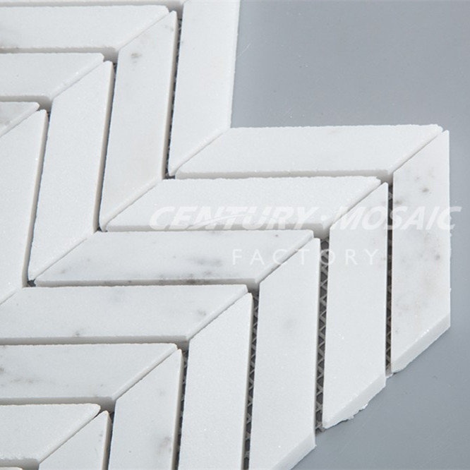 white marble interior wall tile chevron mosaic pattern