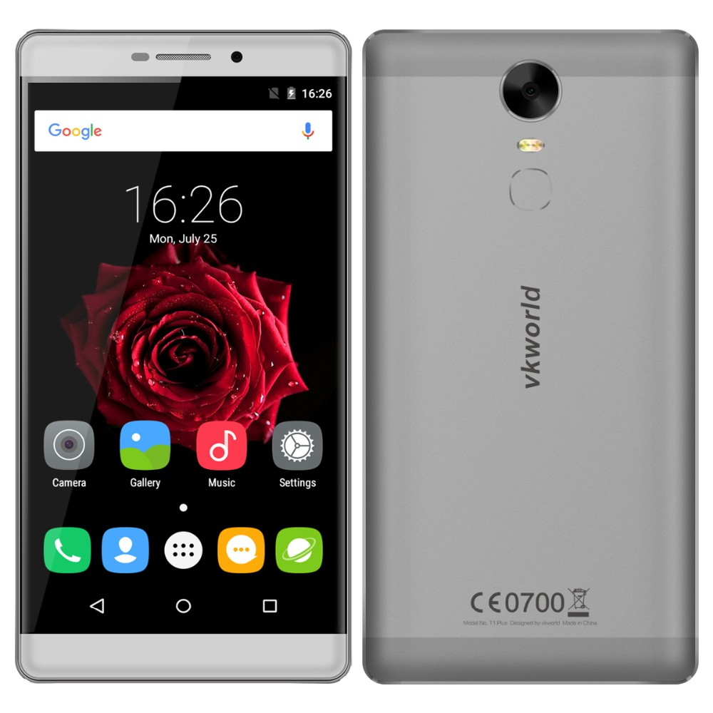 China Brand 6 inch Screen Smartphone New vkworld T1 Plus MTK6735 4G Android 6.0 4300mAh 8MP+13MP Fingerprint Phone