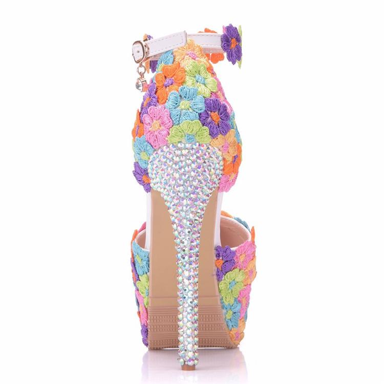 Bespoke Colorful Flowers Decration High Heels Sandals Matching Evening Handbag Sets