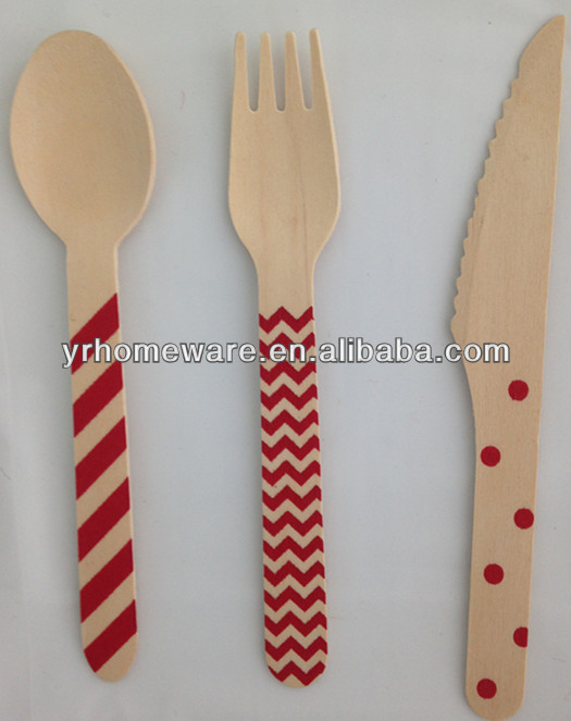 Polka dot chevron stripe wooden utensils crafting spoons forks knives weddings parties banquets disposable wooden cutlery