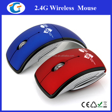 Optical Rubber Glossy ABS RoHS 2.4Ghz Wireless Foldable Mouse
