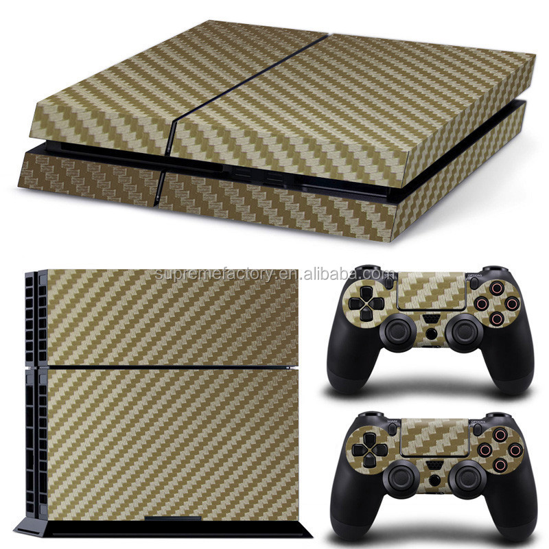 Gold Carbon Fiber Stripe Pattern Vinyl Skin Sticker Decals for PS4 for Playstation 4 Console & Controller