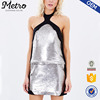 Halter-Neck Style Short Length Silver Sequin Sexy Dress