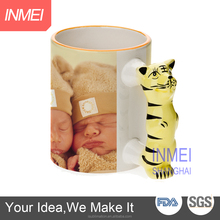 11OZ Black Rim Sublimation Mug With Tiger Handle High Quality, animal handle mug