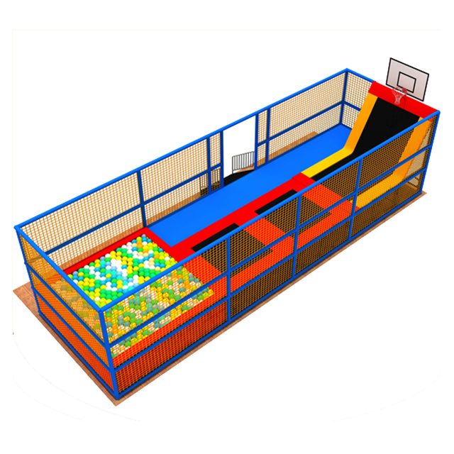 Hot Selling Square Jumping Mat Mini Bounce Trampoline Bed for Sale with Basketball and Foam Pool