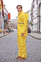 Knit PU coating fabric yellow florescent color workplace safety breathable high quanlity reflective rainsuit best raincoats