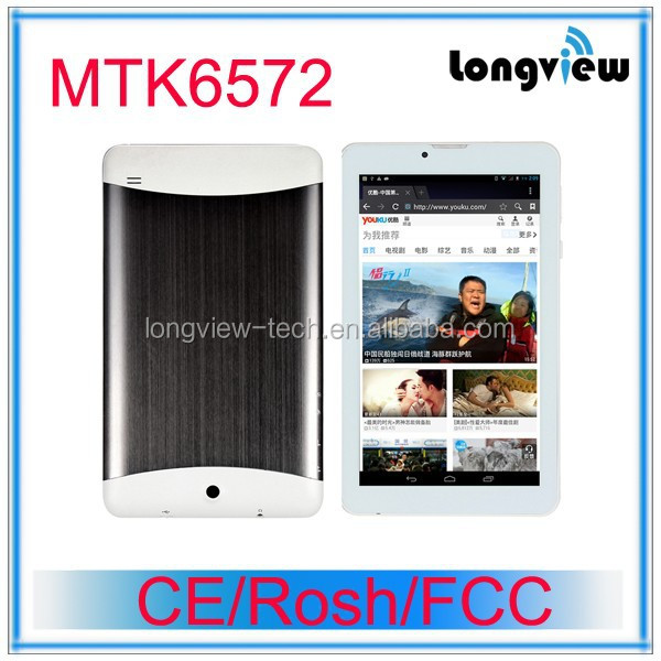China cheap andriod dual core 7 inch 3G tablet pc wifi gps fm mobile phone BT 0.3M/2.0 camera MTK6572 CPU