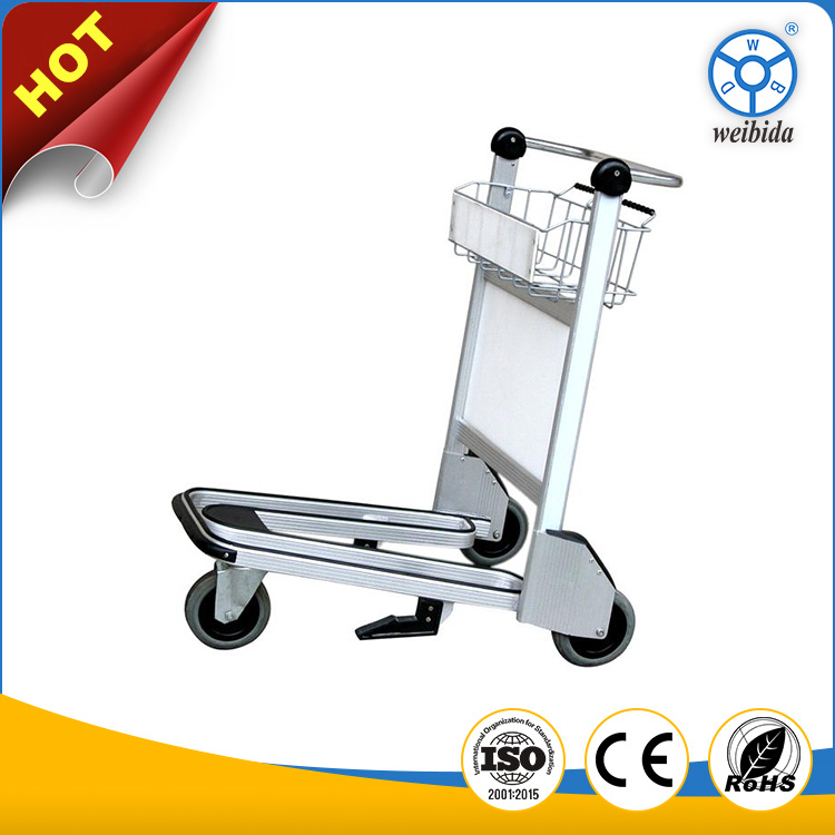 Lowest price aluminum hand pull airport luggage bag goods carrying trolley with brake