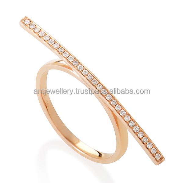 ANTR1403 Modern ring with pink gold plated and cz
