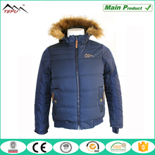 2016 blue padded jackets with fake fur hood