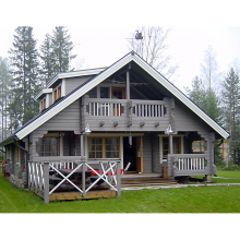 Timber frame home manufacturer of ready made house with large balcony