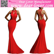 Wholesale pregnant woman Red Open Back Fine Flowers Wedding Evening Gown dress
