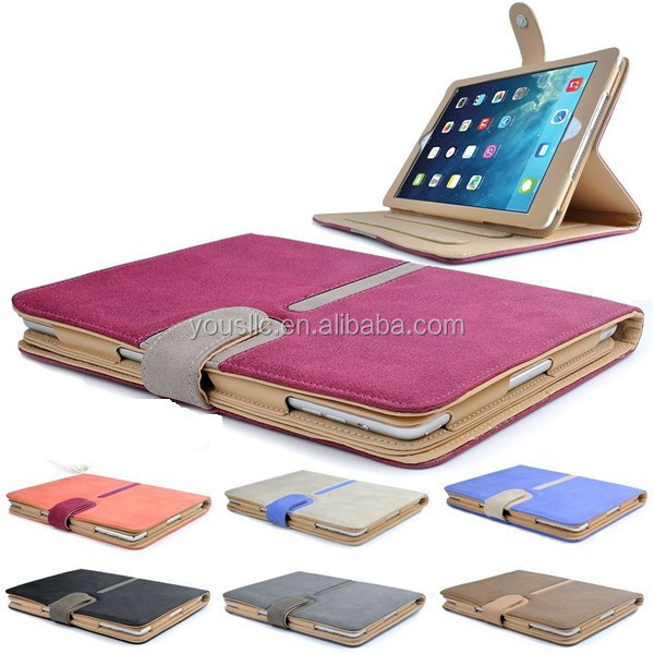 High Quality Suede Leather Smart Case,Tan Leather Case Cover For Ipad Mini 3 with Sleep Wake
