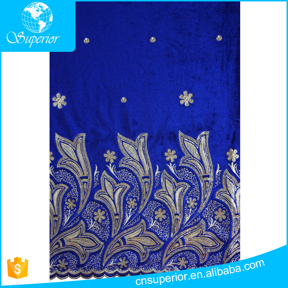 fashion african george wrapper velvet fabric hot sale in african market 100% polyester ladies suits lace design