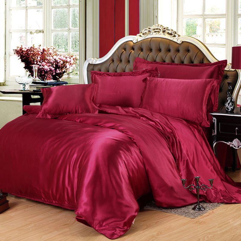 burgundy silk bedding set twin full queen king size anduvet cover bedsheet quilt bed linen sheet. Black Bedroom Furniture Sets. Home Design Ideas
