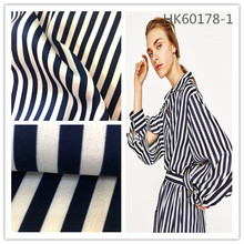 2017 new design smooth 100%polyester stripe satin chiffon fabric for women shirts