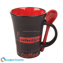 12oz coffee break design matte black trumpet shaped ceramic spooner mug with wood lid giftbox set