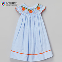 Blue Striped Smock Bishop Dress Pumpkin Embroidery Wholesale Children's Boutique Clothing