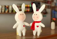 Soft Cute Stuffed Plush White FUJI Rabbit Toys Plush Diy Cartoon Animal Toys with Scarf for Kids