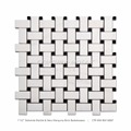 Professional White Polished Basket Weave marble Mosaic Tile