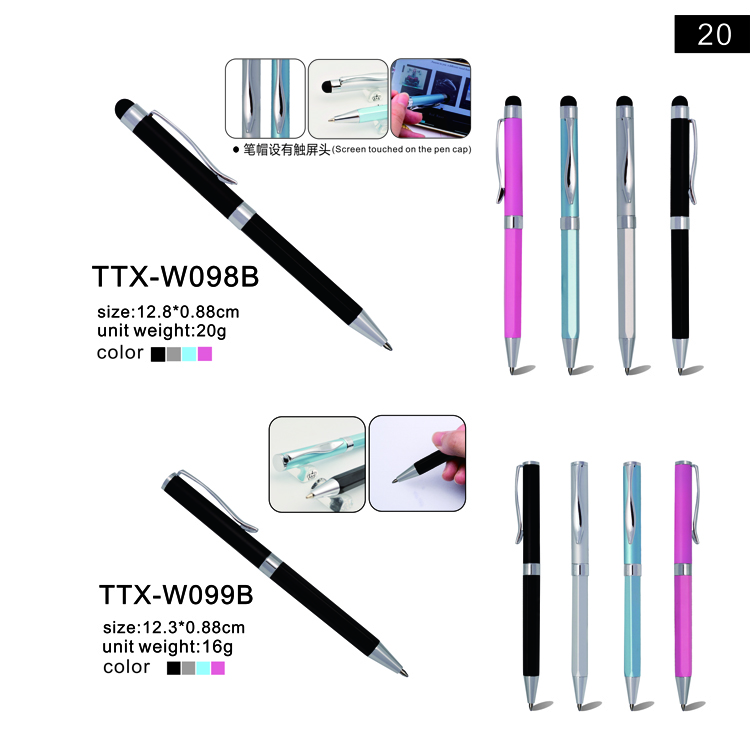 2018 new style Promotional gifts colorful metal cross pen,custom logo touch pen/stylus hotel pen