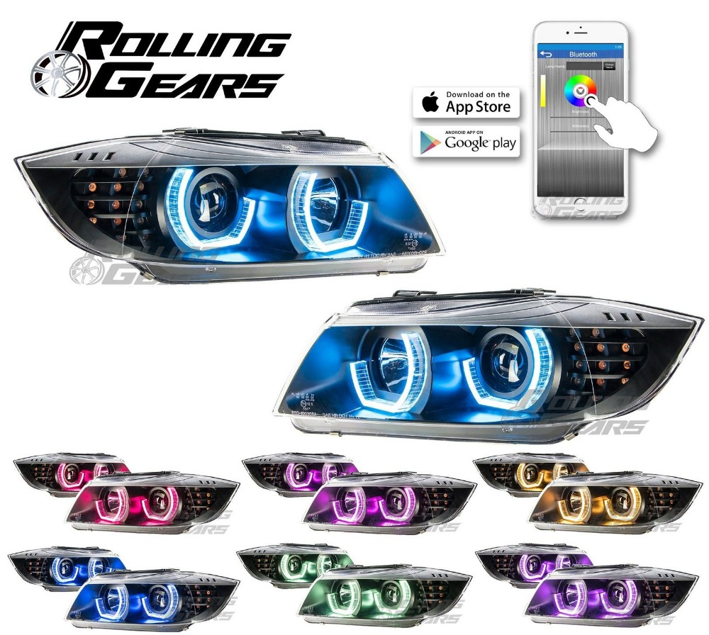HANXUNDA Projector Headlights w/ RGB Multi-Colors LED Angel Eye For B MW E90 E91 09-12 BK