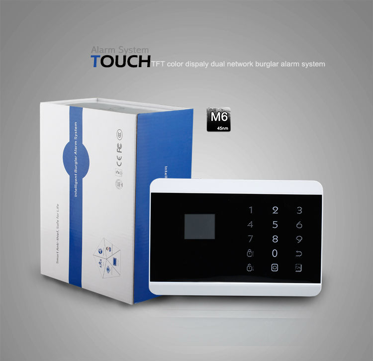 Andriod/iOS APP control touch keypad color menu quad-band GSM&PSTN contact ID home GSM fire&burglar alarm system