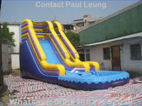 Wholesale 9x4m inflatable water slide with front pool