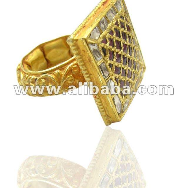 kundan Meena Diamond Ring, 22K Gold Kundan Polki ring, Kundan Diamond Polki Jewellery