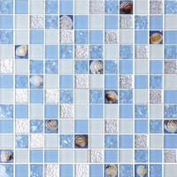 23*23mm,8mm thickness crystal glass mix shell swimming pool tiles washroom tiles
