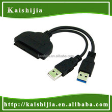 "SATA splitter cable Dual USB 3.0 to SATA 7+15 Pin connector cable for 2.5"" Hard drive d disk"