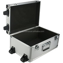 SRA Cases Aluminum Hard Case with Wheels, Silver, 17.3 x 11.7 x 8.6 Inches