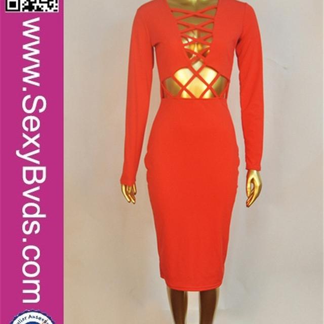 2016 Wholesale Sexy Women Celebrity Long Sleeve Bodaycon Bandage Dress Orange